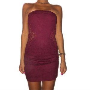Maroon Lace Bodycon Dress
